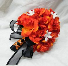 BLACK / ORANGE  roses 2 pc wedding bouquet package by Shelligirl37, $58.00