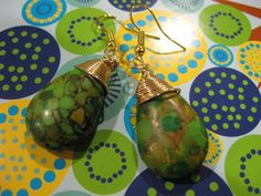 Green and Pumpkin Turquoise Teardrop Golden by JetRavenBlack, $10.00
