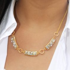 -Length: to -Pendant: variable sizes -Swarovski Crystals & Brass electroplated with Gold -Handmade in NY -Item ship in a gift box Semi Annual Sale, Sleek Look, Swarovski Crystals, Jewlery, Gold Necklace, Jewelry Making, Chain, Pendant, Gifts