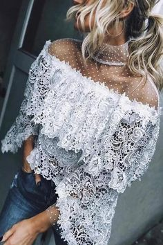 VONDA 2020 Fashion Tops for Women Summer Lace Blouse Shirt Female Crochet Off Shoulder Shirt Casual Loose Blusas Plus Size Off Shoulder Fashion, Off Shoulder Shirt, Floral Print Maxi Dress, Floral Lace, Lace Tops, Lace Blouses, Types Of Fashion Styles, Types Of Sleeves, Mantel