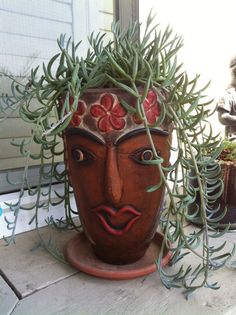 Succulents in tribal pottery Succulent Wall, Succulent Gardening, Succulent Terrarium, Cacti And Succulents, Garden Pots, Face Planters, Flower Planters, Flower Pots, Planter Pots