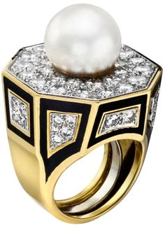 """David Webb South Sea Pearl, Diamond & Black Enamel Dress Ring. Geometric-shaped cultured South Sea pearl and diamond dress ring, centering on a cultured South Sea pearl with a diameter of approximately 11.2mm, accented by black enamel and 72 full-cut diamonds weighing approximately 4.00 total carats, mounted in 18k yellow gold and platinum, signed """"Webb"""" for David Webb. Via 1stdibs."""