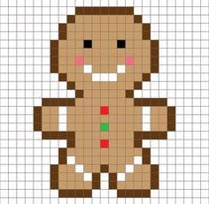 Christmas x-stitch Crochet Gingerbread Man Pixel Square