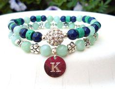 Initial Charm Bracelet Personalized Jewelry by BlueStoneRiver, $38.95