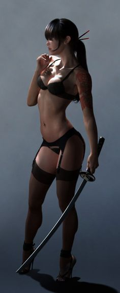 Sexy women with swords