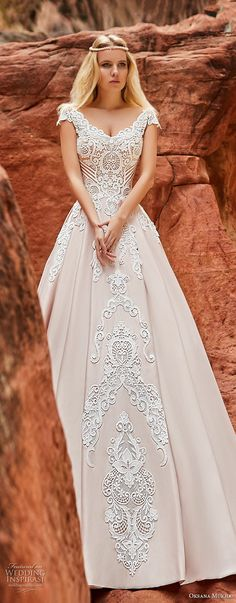 oksana mukha 2018 bridal cap sleeves v neck heavily embellished bodice romantic princess a  line wedding dress corset back chapel train (isadora) mv -- Oksana Mukha 2018 Wedding Dresses