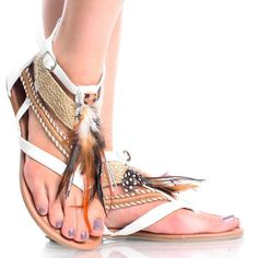id 3 to have / White Hippie Feather Thong Strappy Gladiator Sandal Womens Flat Shoes