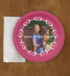 Equestrian themed paper Party Plates for the horse lover with horse bits and a place to add your own photograph.