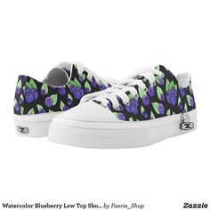 Watercolor Blueberry Low Top Shoes #watercolor #blueberry #pattern #purple #dark #leaves #green #ink #cute #berry #watercolour #colorful #faerieshop #zazzle #sneakers