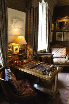 Mark Birley's Library/Game Room with backgammon table, dog artwork, lush draperies with pelmet boxes.