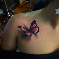 Pink Butterfly Tattoo by Alex Bruz