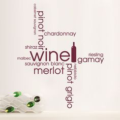 Wine Word Cloud Kitchen Dining Montage Wall Sticker Art Decal Vinyl Transfer