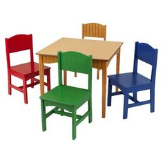 KidKraft Nantucket Table and Chair Set - Primary - could paint a different superhero emblem on the back of each chair