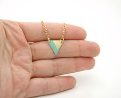 Minimalist Geometric Small Triangle Lined Necklace - Mint Green Hand Painted Modern Raw Brass Jewelry  - Gold Plated Chain. $17,00, via Etsy.