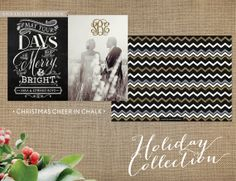 Photo Christmas Card / Holiday Cards / Festive Chalk Typography / May your days be Merry and Bright / Glitter Monogram / Wedding Christmas Card / Just Married / Newlyweds / Chevron / Gold Glitter Chevron / FREE Shipping