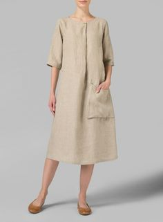 PLUS Clothing - Linen Long Center Pleated Dress