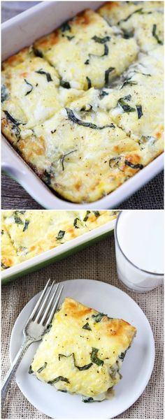 Spinach Artichoke Egg Casserole Recipe on http://twopeasandtheirpod.com Love this easy breakfast casserole! It's great for entertaining too!