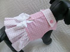 Pink Polka Dots Ruffled Fully Lined  Dog  Vest by graciespawprints, $17.95
