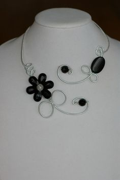Wedding jewelry - Black necklace - Open collar necklace    LesBijouxLibellule - Jewelry on ArtFire