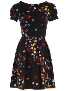 multi falling leaf print dress // dorothyperkins.com