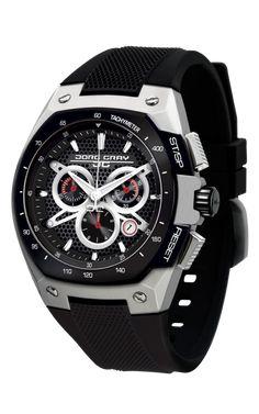 Jorg Gray JG8300-23 Men's Watch Chronograph Black Dial Black Silicone Strap