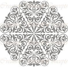 Round Floral Medallion Decorative Stencil by CreativeStencils, $12.95