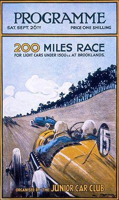 1925 200 Miles Auto Race - Brooklands - Weybridge England - Program Cover Poster
