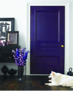 seductive and deep shades of purple from soft lilacs to regal amethys, design d cor, Purple Fixtures How about a purple door Deco Violet, Martha Stewart Home, Purple Door, Purple Front Doors, Purple Glass, Bedroom Doors, All Things Purple, Purple Stuff, Earthship