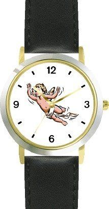 Angel In Flight No.1 - Cherub, Angel or Cupid Theme - WATCHBUDDY® DELUXE TWO-TONE THEME WATCH - Arabic Numbers - Black Leather Strap-Children's Size-Small ( Boy's Size & Girl's Size ) WatchBuddy. $49.95
