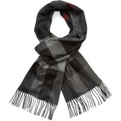 """Burberry Men's Large Classic Check Cashmere Long Scarf, 78"""" x 14"""" (11 780 UAH) found on Polyvore featuring men's fashion, men's accessories, men's scarves, grey, mens scarves, burberry mens scarves, mens long scarves and mens cashmere scarves"""