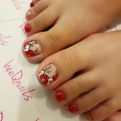Wildflowers Patterns for Hoh Lee Ping Uñas Decoradas 💅 Cute Pedicure Designs, Toe Nail Designs, Pretty Toe Nails, Cute Toe Nails, Toe Nail Color, Toe Nail Art, Pedicure Nail Art, Manicure And Pedicure, Feet Nail Design