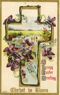 Vintage Christ is Risen Easter Postcard embossed free shipping