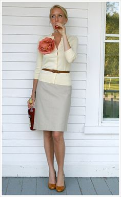 BELTED CARDIGAN: The belt and the flower add focus to this outfit. Cute!