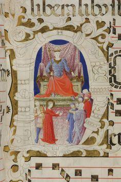 Le miniature dell'Antifonario di San Gaggio carta: 42r titolo: Disputa di santa Caterina con i retori davanti al governatore Massimino autore: Battista di Biagio Sanguigni tecnica: tempera e pennello