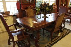 A dazzling dining room set with matching solid wood table and chairs! #shopGF | Houston TX | Gallery Furniture |