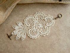 Daffodil lace bracelet ivory by StitchFromTheHeart on Etsy, $25.00