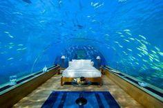 A bedroom in Dubai's underwater Hotel