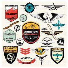 , emblemas e elementos de design de logotipo emblemas e adesivos. Aviação civil download vetor e ilustração royalty-free