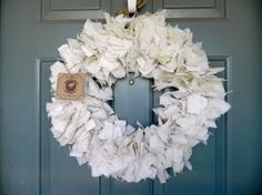 White Burlap Wreath  22 inch  Other sizes by RedRobynLane on Etsy, $44.00