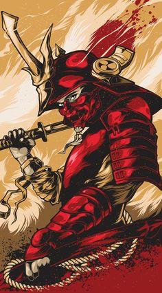 A samurai in red armor waiting for the enemy Arte Ninja, Ninja Art, I Phone 7 Wallpaper, Lit Wallpaper, Arte Dope, Samurai Wallpaper, Samurai Artwork, Japanese Warrior, Japanese Art Samurai