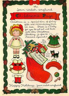Joan Walsh Anglund Christmas paper doll craft page Christmas Paper, Kids Christmas, Vintage Christmas, Christmas Crafts, Christmas Stocking, Imprimibles Toy Story Gratis, Joan Walsh, Paper Art, Paper Crafts