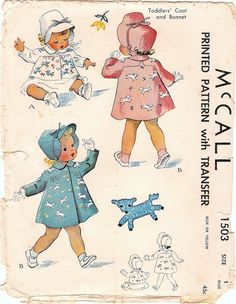 Darling Vintage 1940s McCall 1503 Toddlers by NostalgieVintage