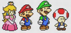 Mario, Luigi, Peach and Toad by *Hama-Girl on deviantART - pixel characters