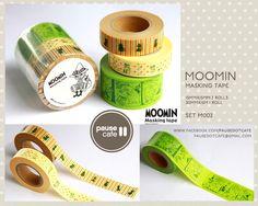 MOOMIN M002 Washi Masking Tape Set of 3 rolls Snufkin Little My. $24.00, via Etsy.