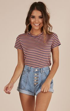 Showpo What I Got top in blue stripe - 8 (S) Basic Tops Baby Girl Dresses, Girl Outfits, Summer Outfits, Fashion Outfits, Denim Skirt Outfits, Jeans Dress, Denim Shorts, Purple Skinny Pants, Short En Jean