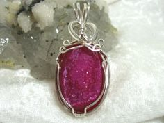 Red Druzy Pendant Hot Pink Druzy Pendant Geode by jewelrybypatterson