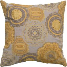 """Pillow cover with Hidden Zipper and Poly Filler Insert<br><br><b>Product Details:</b><br>Size (in.): 20""""x20""""<br>Fabric: Cotton Flax<br>Fabric Content: Front & Back : 85% Cotton & 15% Flax<br>Construction: Printing, Applique and Embroidery Details<br>Primary Color: Taupe <br>Secondary Color: Mustard<br>Care & Cleaning:  Dry Clean Only.<br>Country of Origin: India $62.50"""