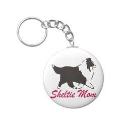 Shetland Sheepdog Sheltie Mom Basic Round Button Keychain