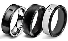 Men's Black-Plated, Stainless Steel, or Titanium Wedding Bands. Because they still want to look manly with a ring on! #GrouponWeddingSweeps