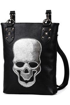 ROMWE | Skull Black Backpack Bag #romwe